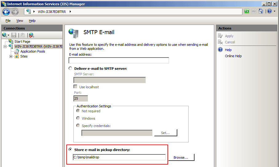 SMTP Email Settings Page with Drop Folder Highlighted