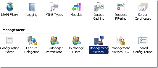 Management Service Highlighted in Blue.