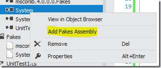 The Add Fakes Assembly context menu item.