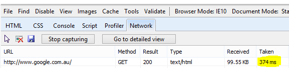 Network view in Internet Explorer