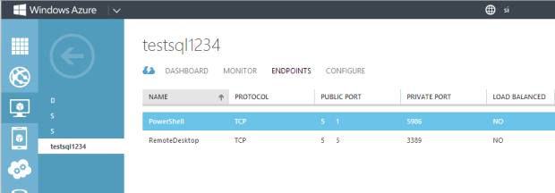 Azure VM Endpoints