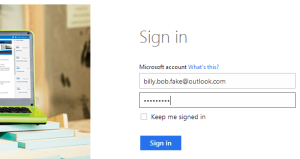 Microsoft account login example.