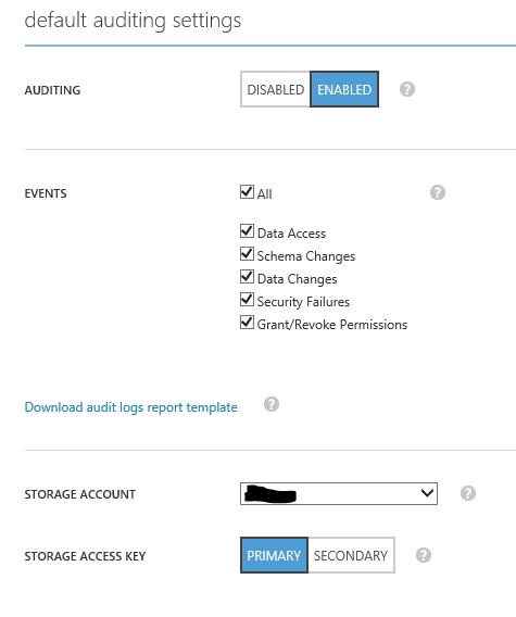 Server Audit Default Settings