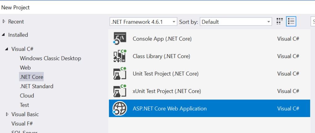New Project - .Net Core