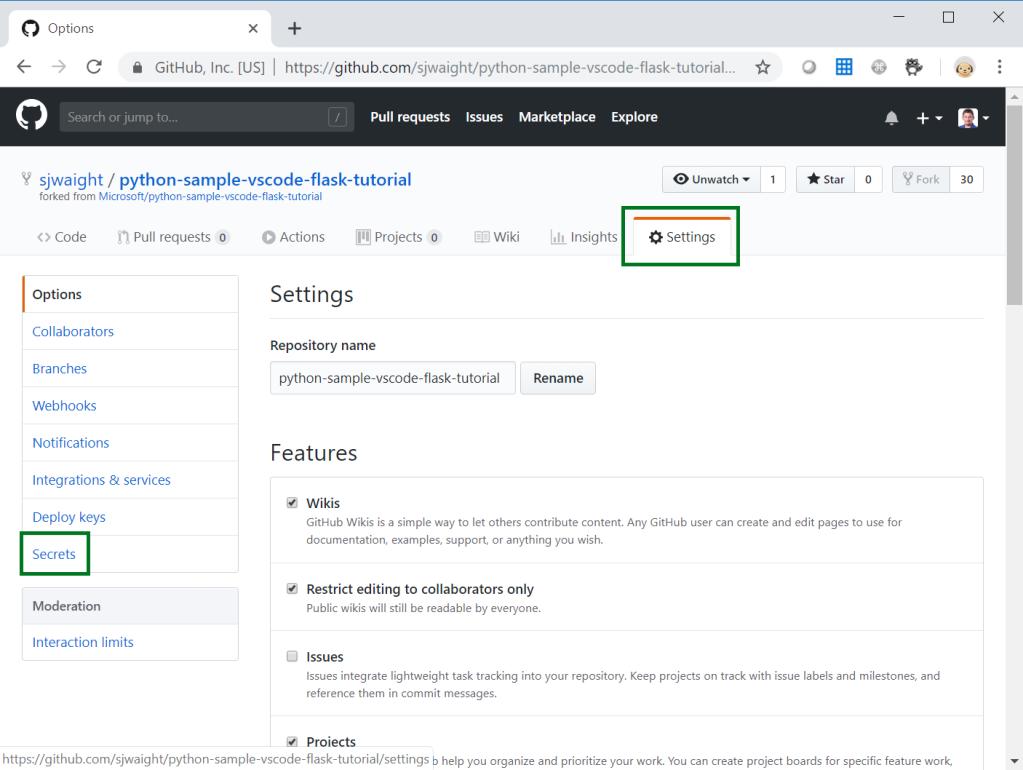 GitHub Settings - Secrets