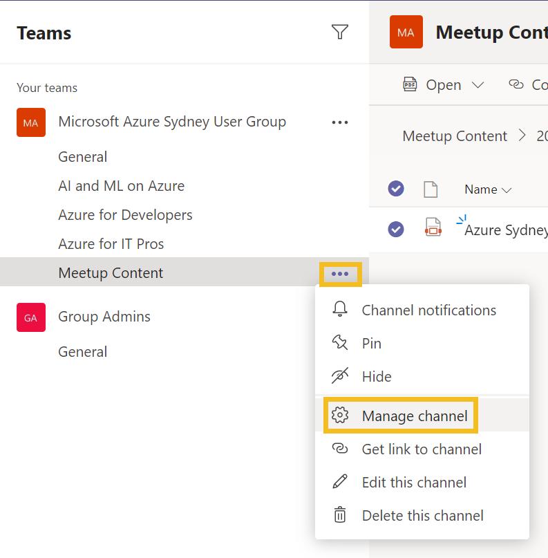 Channel setup - step 1 - access settings