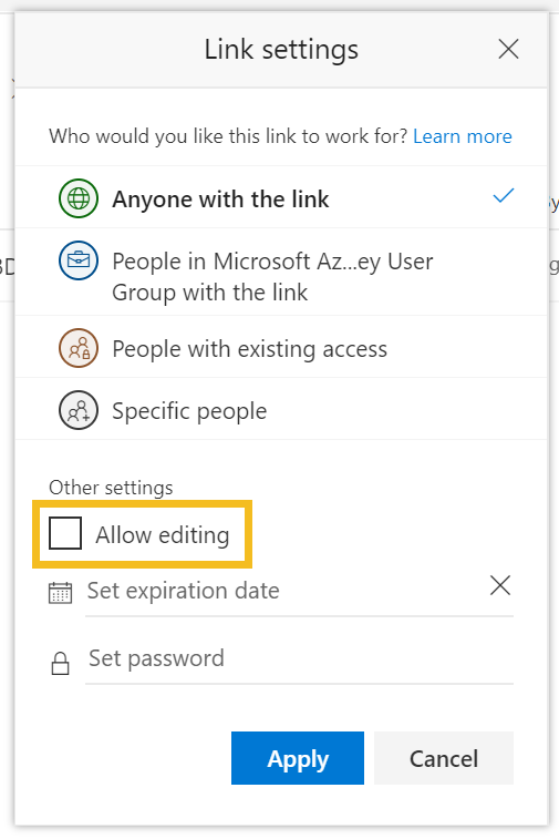 Anonymous file share - step 6 - Link Settings Dialog