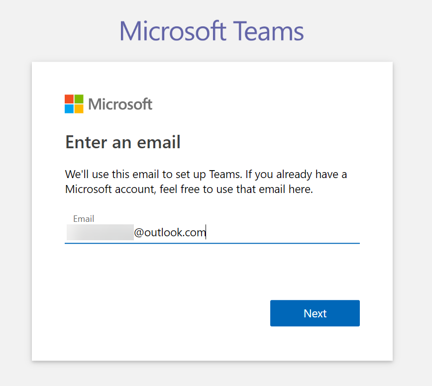 Microsoft Teams - Signup step 2 - Enter admin email address