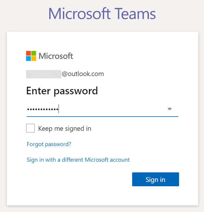 Microsoft Teams - Signup step 4 - Log into account