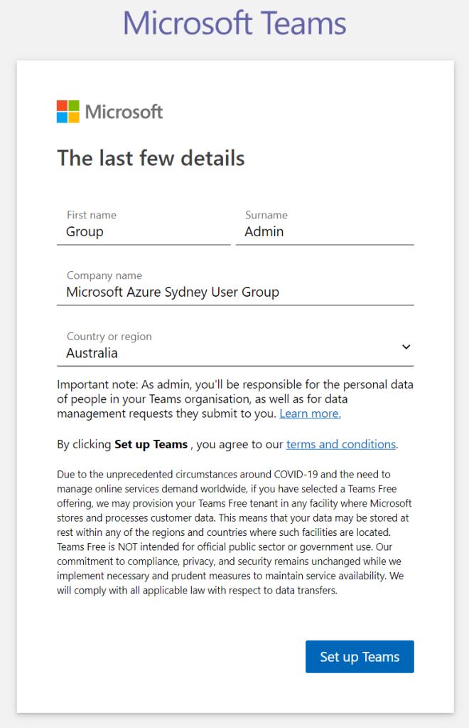 Microsoft Teams - Signup step 5 - Enter final details