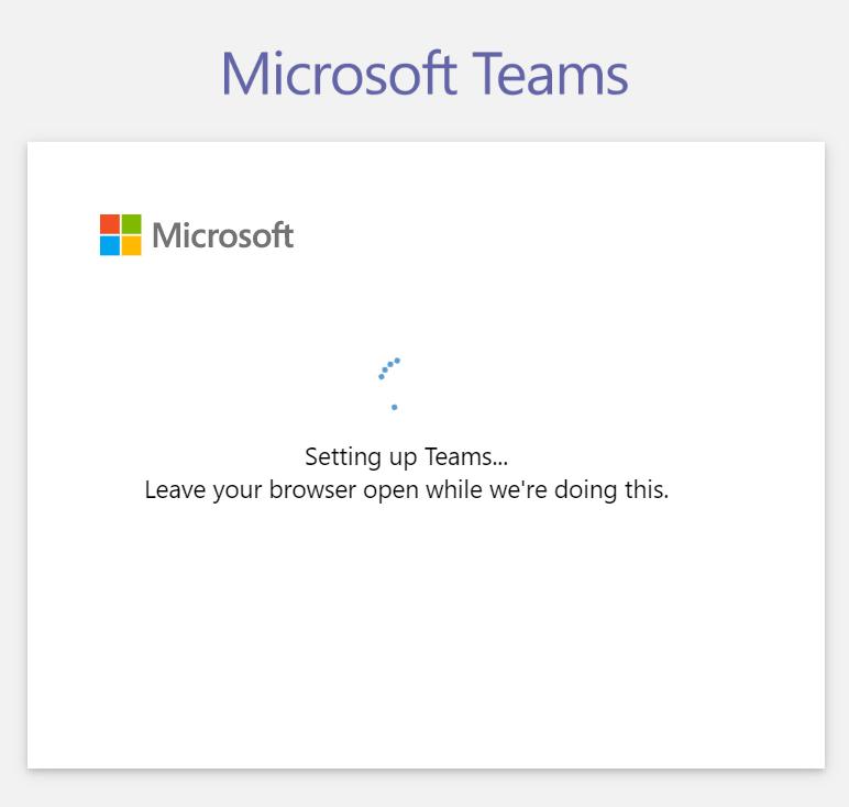 Microsoft Teams - Signup step 7 - Setting up Teams