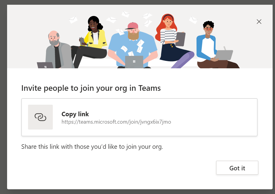 Microsoft Teams - Signup step 9 - Invite link