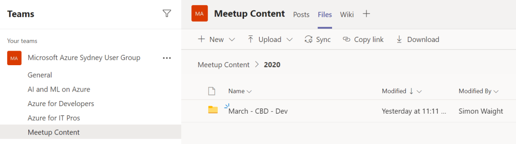 Teams Files for Meetup Content