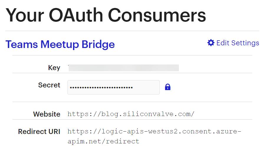 Meetup OAuth Consumer