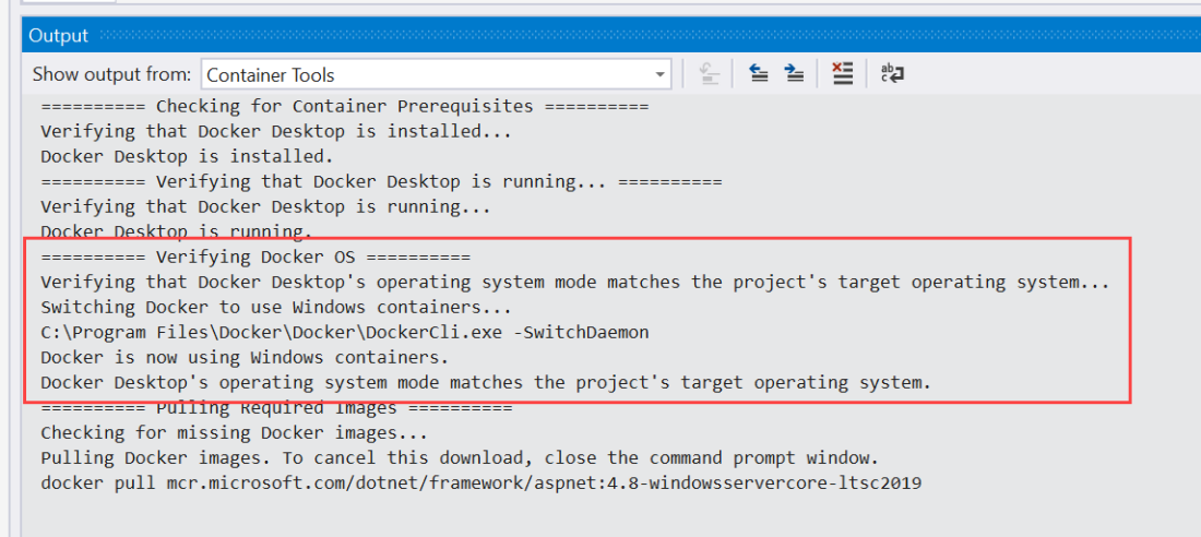 Switching Docker to Windows Containers
