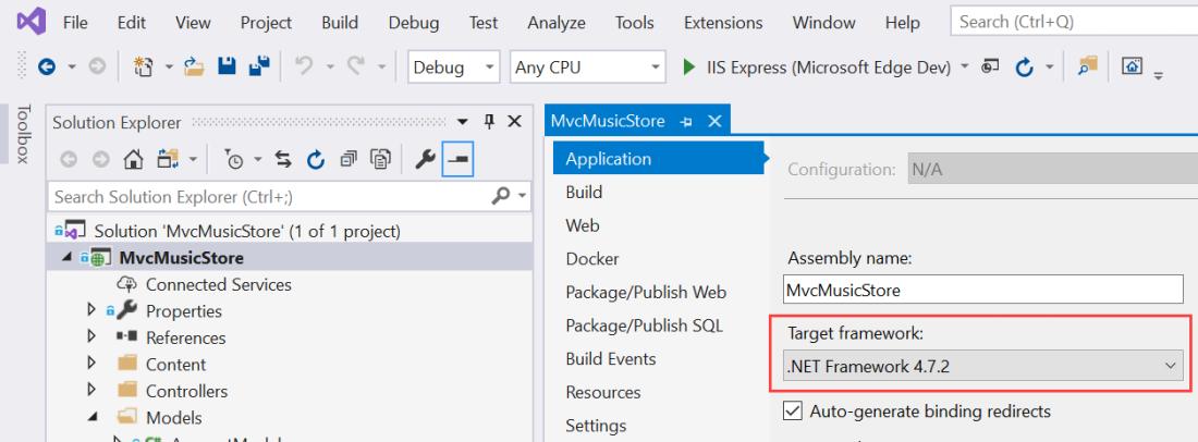 Change .NET Framework version