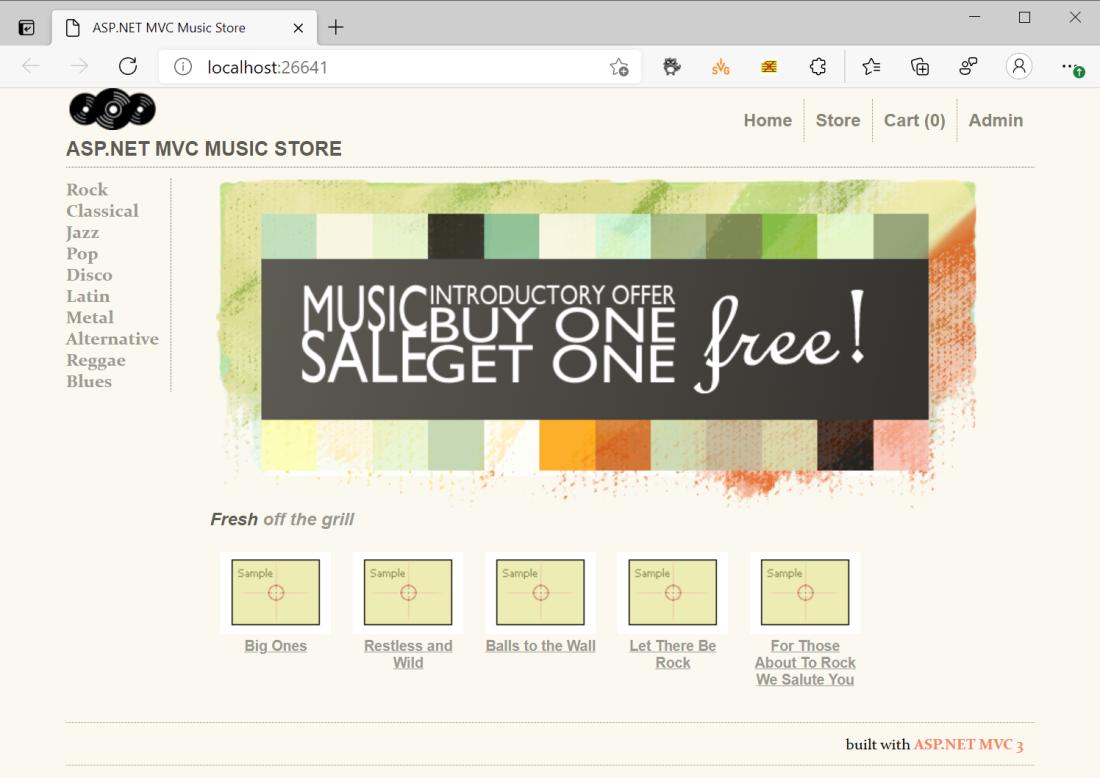 MVC Music Store Sample loaded