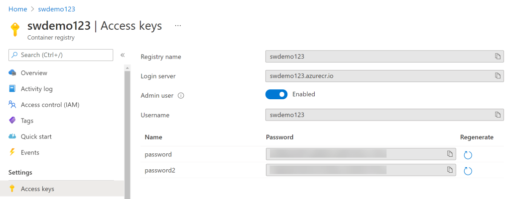 Azure Container Registry Access Keys blade. This is where you copy most of the Secrets from.