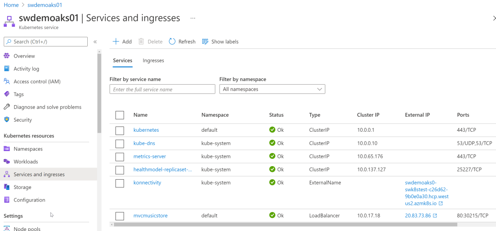 Services and ingresses view in Azure Kubernetes Service blade in the Azure Portal. Our new Service is at the bottom.