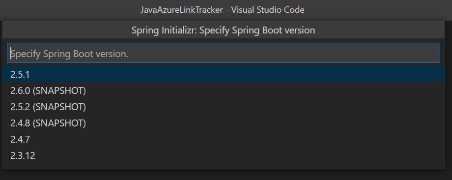 Selecting Spring Boot version in VS Code.