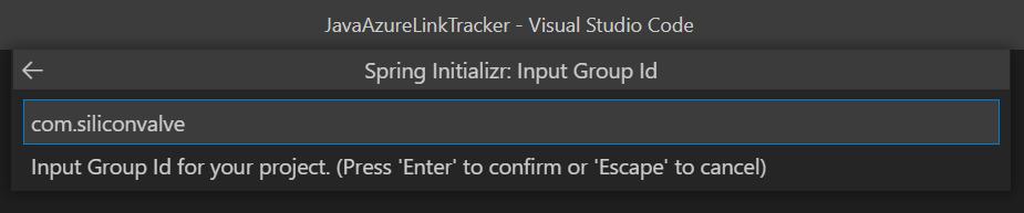 Set Input Group ID in VS Code.