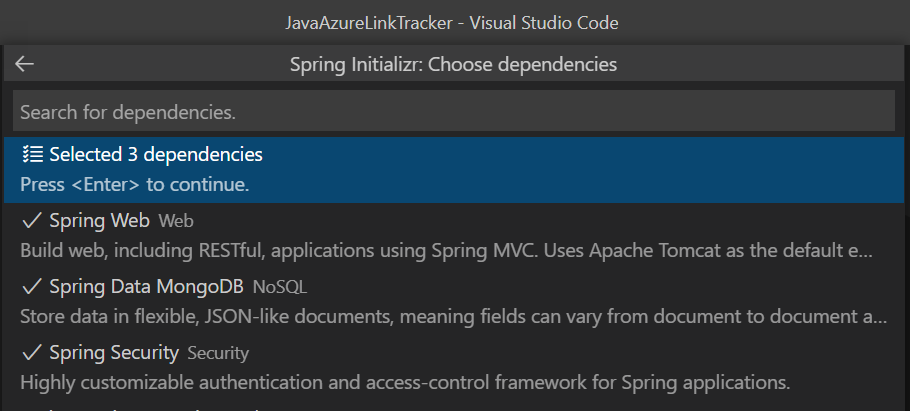 Selecting dependencies in VS Code.
