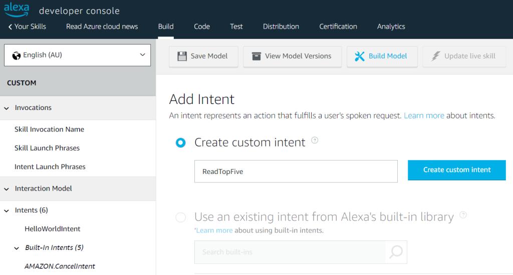 Defining an Intent for Alexa