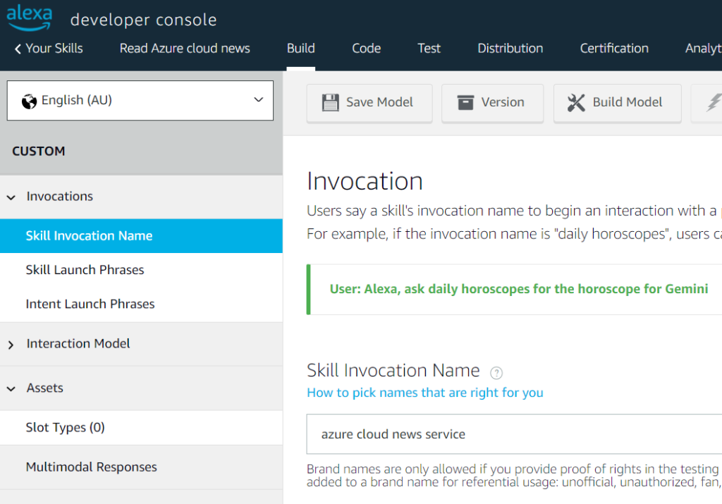 Invocation Name for Alexa Skill